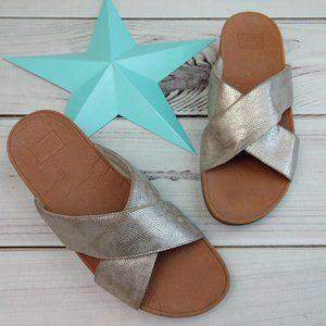 Lulu Shimmer Cross Slide Sandals Shoes Gold 10